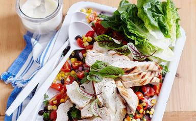 Char-grilled chicken with corn salsa