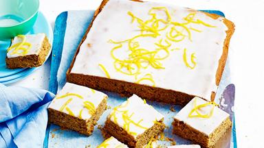 Gingerbread slice with lemon glaze