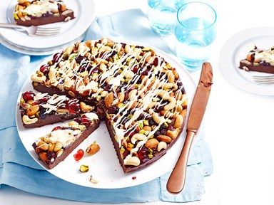 Nutty chocolate, cranberry and cherry fudge