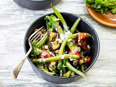 Eggplant, green bean and peanut salad