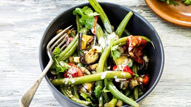Eggplant, green bean and peanut salad