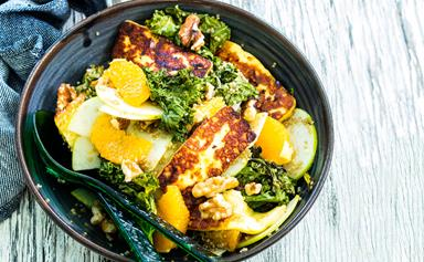Grilled haloumi, kale, orange and apple salad
