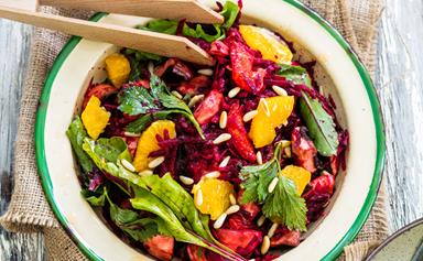 Raw beetroot and orange salad