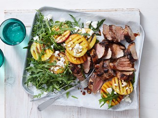 maple glazed pork with peach and rocket salad