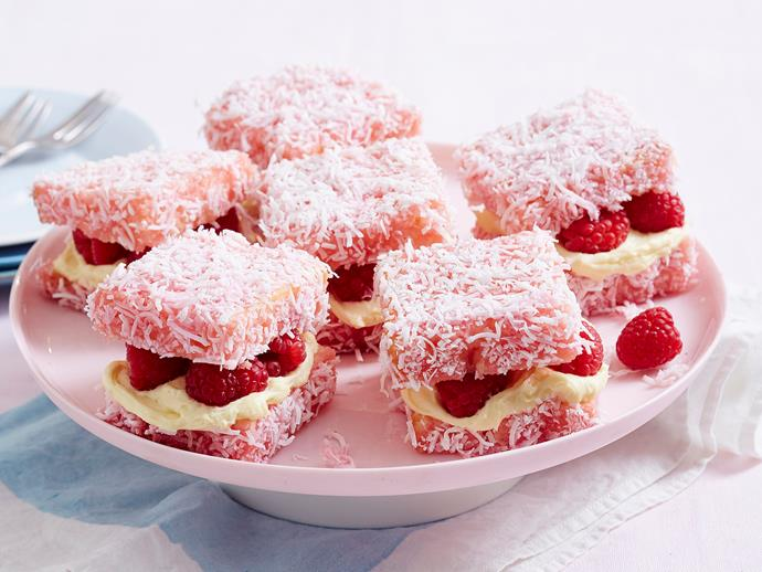 "**[Raspberry cheesecake lamingtons](https://www.womensweeklyfood.com.au/recipes/raspberry-cheesecake-lamingtons-1975|target=""_blank"")**  These raspberry delights are a cute creative twist on your classic lamingtons! They're dipped in pink icing and layered with cream cheese filling and fresh raspberries for a fun treat everyone will love."