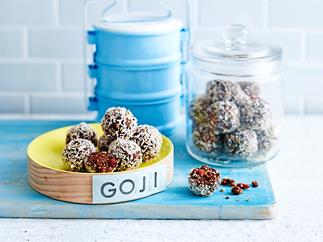 raw chocolate and goji berry bliss balls