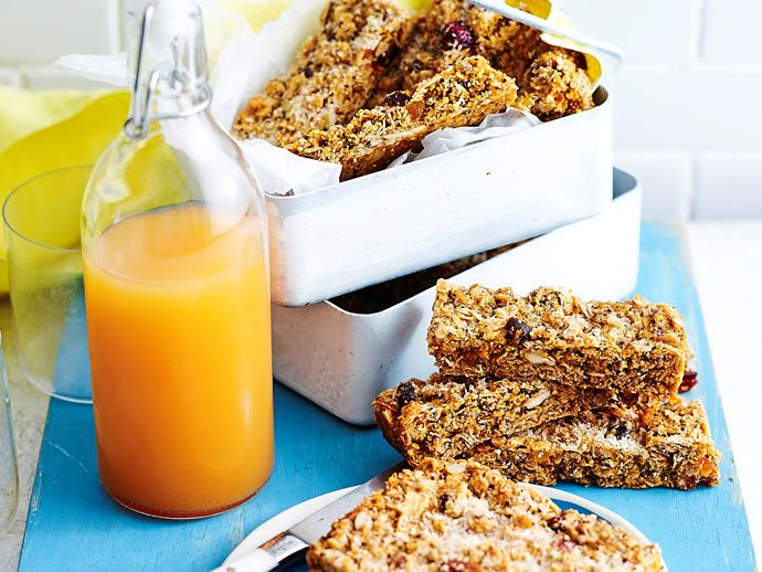"**[Orchard muesli slice](https://www.womensweeklyfood.com.au/recipes/orchard-muesli-slice-1978|target=""_blank"")**  These tasty snacks are the healthier alternative to your store-bought muesli bars. Packed full of dried fruits, chia seeds and coconut, this recipe is already sweet enough so there's no need for sugar!"