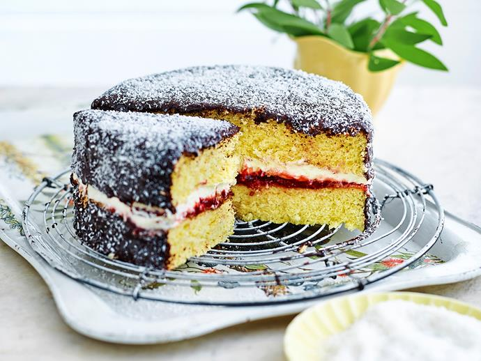"**[Lamington sponge cake](https://www.womensweeklyfood.com.au/recipes/lamington-sponge-cake-1982|target=""_blank"")**  Two sponge cakes are sandwiched with cream and raspberry jam to make the ultimate dessert."