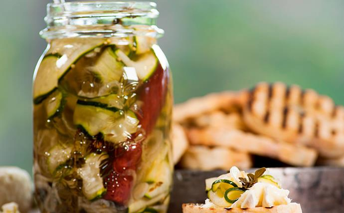 Pickled courgettes