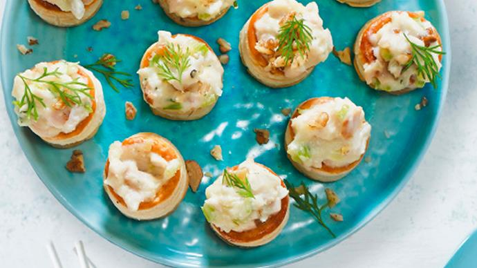 Vol au vents with creamy smoked chicken and walnuts