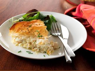 Winter smoked fish filo pie