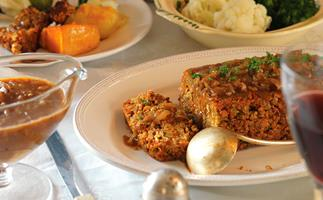 Roasted almond and lentil loaf with caramelised onion gravy