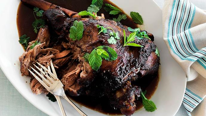 Slow-cooked pulled lamb with pomegranate glaze