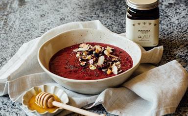 Crown Range Cellar blackcurrant smoothie bowl