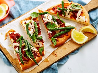 chicken, asparagus and goats cheese pizza