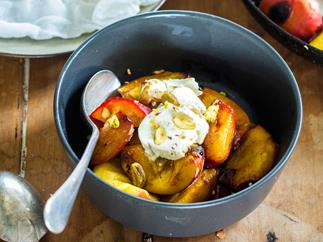 Caramelised nectarines with homemade yoghurt curd