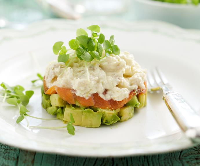 Crab, salmon and avocado stacks