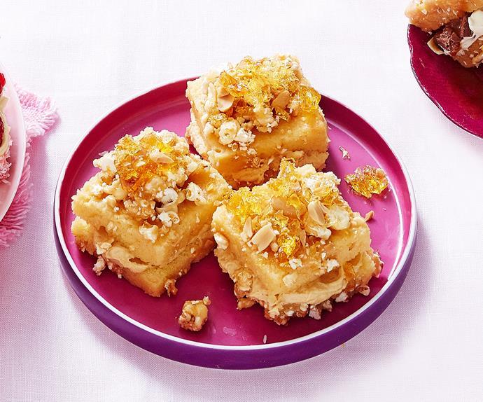 Peanut butter toffee popcorn lamingtons