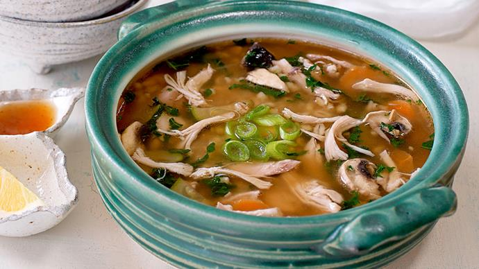 Miso broth with chicken, barley and vegetables