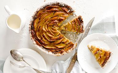Pear and toffee tart