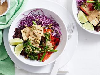 tofu and pepita satay bowls