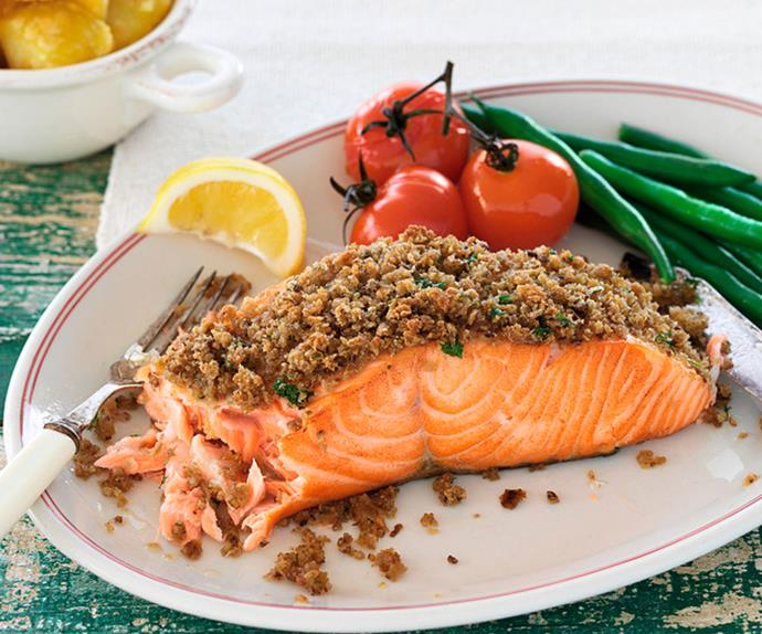 Tarragon and dill-crusted salmon