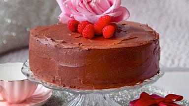 Chocolate layer cake with raspberries