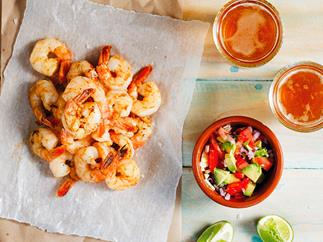 Barbecue prawns with avocado salsa