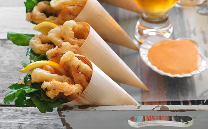 Beer-battered calamari with chipotle mayonnaise