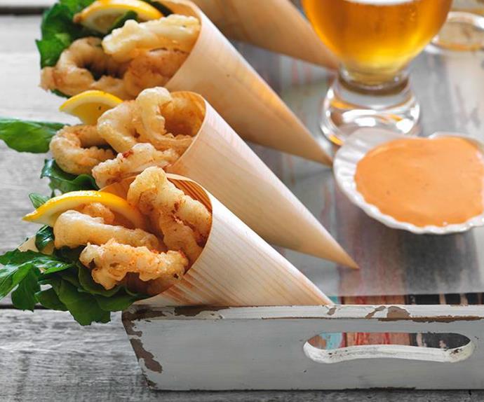 Beer-battered calamari with chipotle mayonnaise
