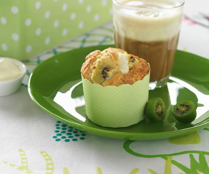 Kiwifruit and white chocolate muffins