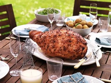 Barbecued glazed ham