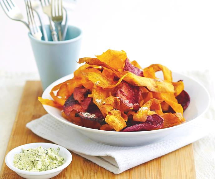 root veggie crisps with citrus and rosemary salt
