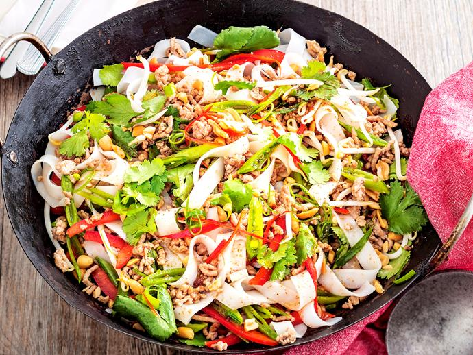 "This tasty [pad thai](https://www.womensweeklyfood.com.au/recipes/pork-pad-thai-2032|target=""_blank"") is super quick to prepare and is full of filling noodles, flavoursome pork mince and healthy vegetables making it the perfect midweek dinner for the family."