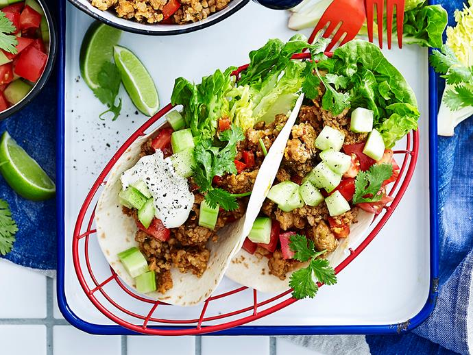 "**[Spicy pork sausage tortillas](https://www.womensweeklyfood.com.au/recipes/spicy-pork-sausage-tortillas-2034|target=""_blank"")**  These delicious pork tortillas use Italian-style pork sausages and are topped with a fresh cucumber and tomato salad for a light yet flavour-packed meal."