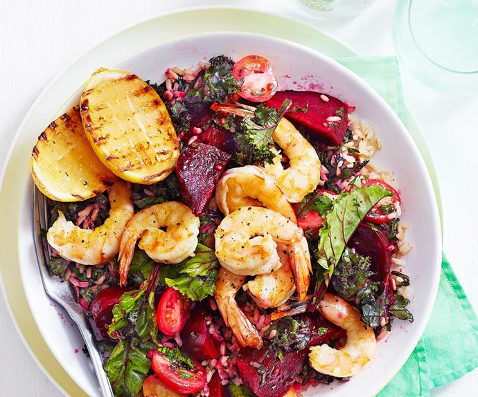 Prawn, beetroot and kale salad
