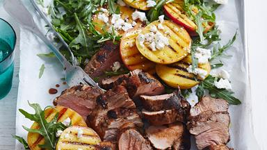 Maple-glazed pork with peach and rocket salad