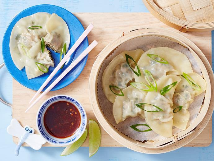 "**[Pork and gai lan dumplings](https://www.womensweeklyfood.com.au/recipes/pork-and-gai-lan-dumplings-2037|target=""_blank"")**  Get the kids to help out with this one! From The Australian Women's Weekly's '[Superfoods For Babies And Toddlers](https://www.magshop.com.au/the-australian-womens-weekly-superfoods-for-babies-and-toddlers