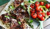 Lamb chops with slow-roast tomatoes