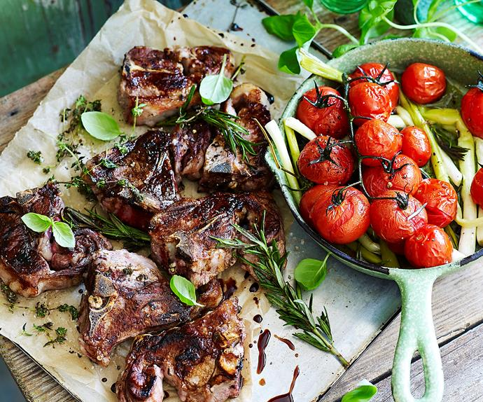 lamb chops with slow roast tomatoes