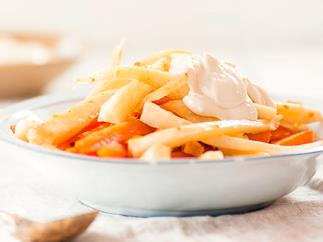 Ginger and honey roast carrots and parsnips with tahini whip