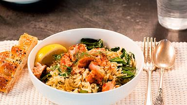 Hot smoked salmon, lemon and spinach pilaf