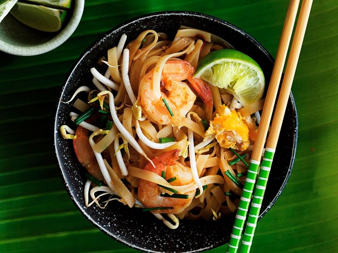Malaysian-style rice noodles with prawns and garlic chives