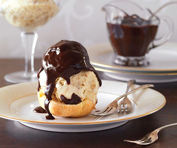 Profiteroles with gingernut ice cream and chocolate fudge sauce