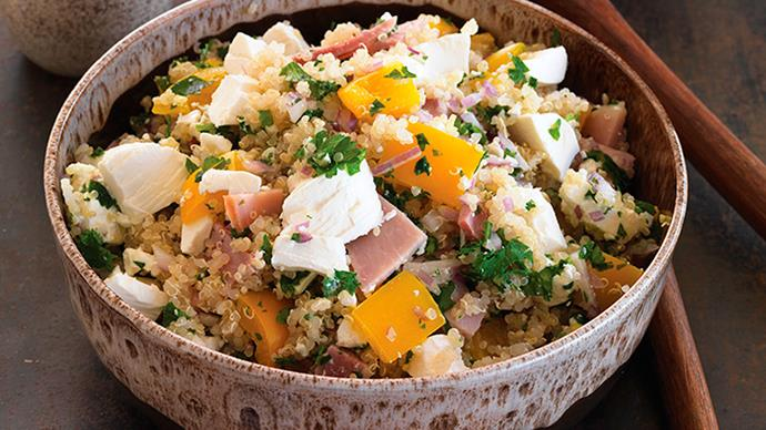 Quinoa, ham and feta salad with Ssun-dried tomato dressing