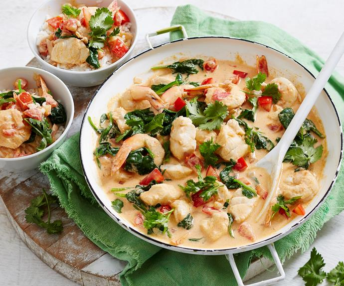 Thai red prawn and fish curry