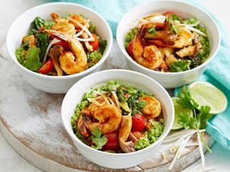 Tom yum prawn stir-fry with broccoli rice