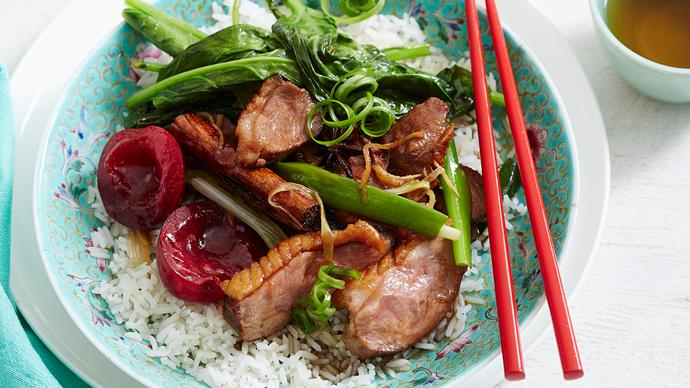 red braised fragrant duck with plum glaze