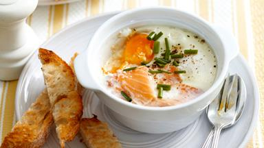 Baked salmon and egg pots