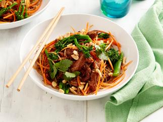 char siu pork and vermicelli noodles